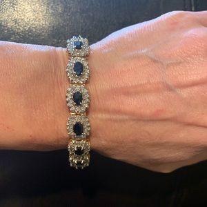 Jewelry - 14K Oval Blue Sapphire & Diamond Tennis Bracelet